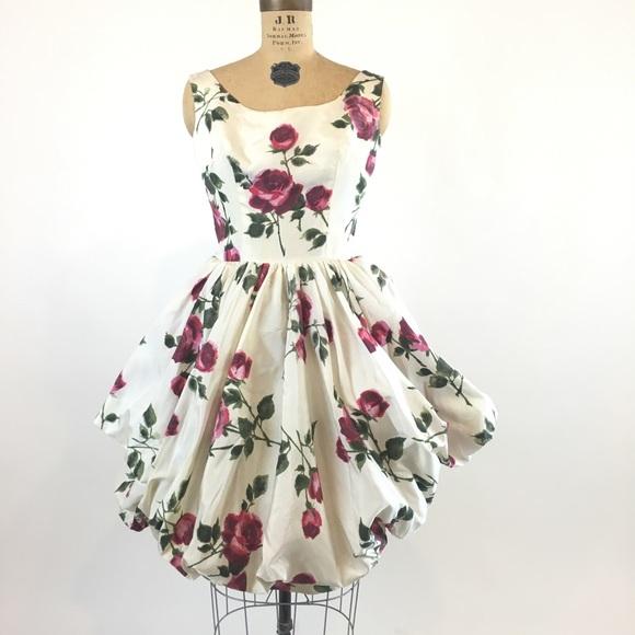 4e950edec03 Vintage 1950 s Rose Print Bubble Dress. M 5b3bfb5adf030701cc354339